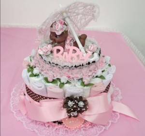 Pink and chocolate diaper cake