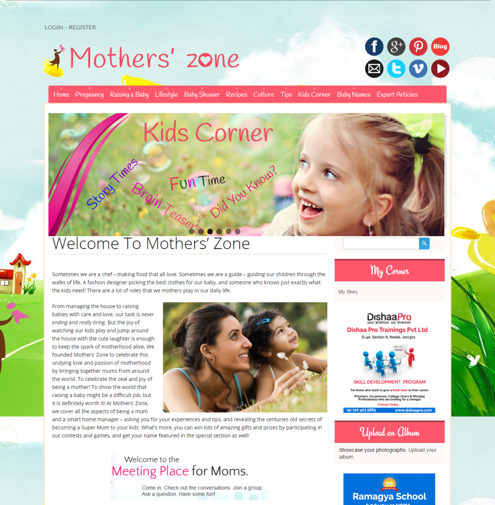 Online Moms Community to Share information on Motherhood